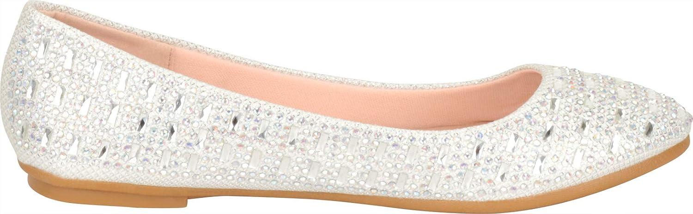 Cambridge Select Womens Round Toe Glitter Crystal Rhinestone Slip-On Ballet Flat