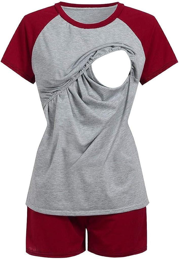 Shorts Pyjamas Set Stillkleidung Umstandsmode G/ünstig Damen Stillshirt Stilltop Umstandsmode Stillmode Set,2 St/ücke Frauen Mutterschaft Kurzarm Pflege Baby Tops T-Shirt