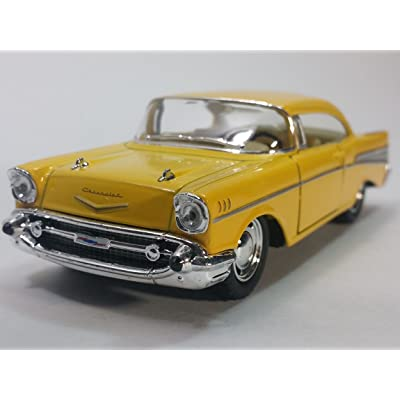 Kinsmart Canary Yellow 1957 Chevy Bel Air 2 Door Coupe 1/40 Scale Diecast Car by Kinsmart: Toys & Games