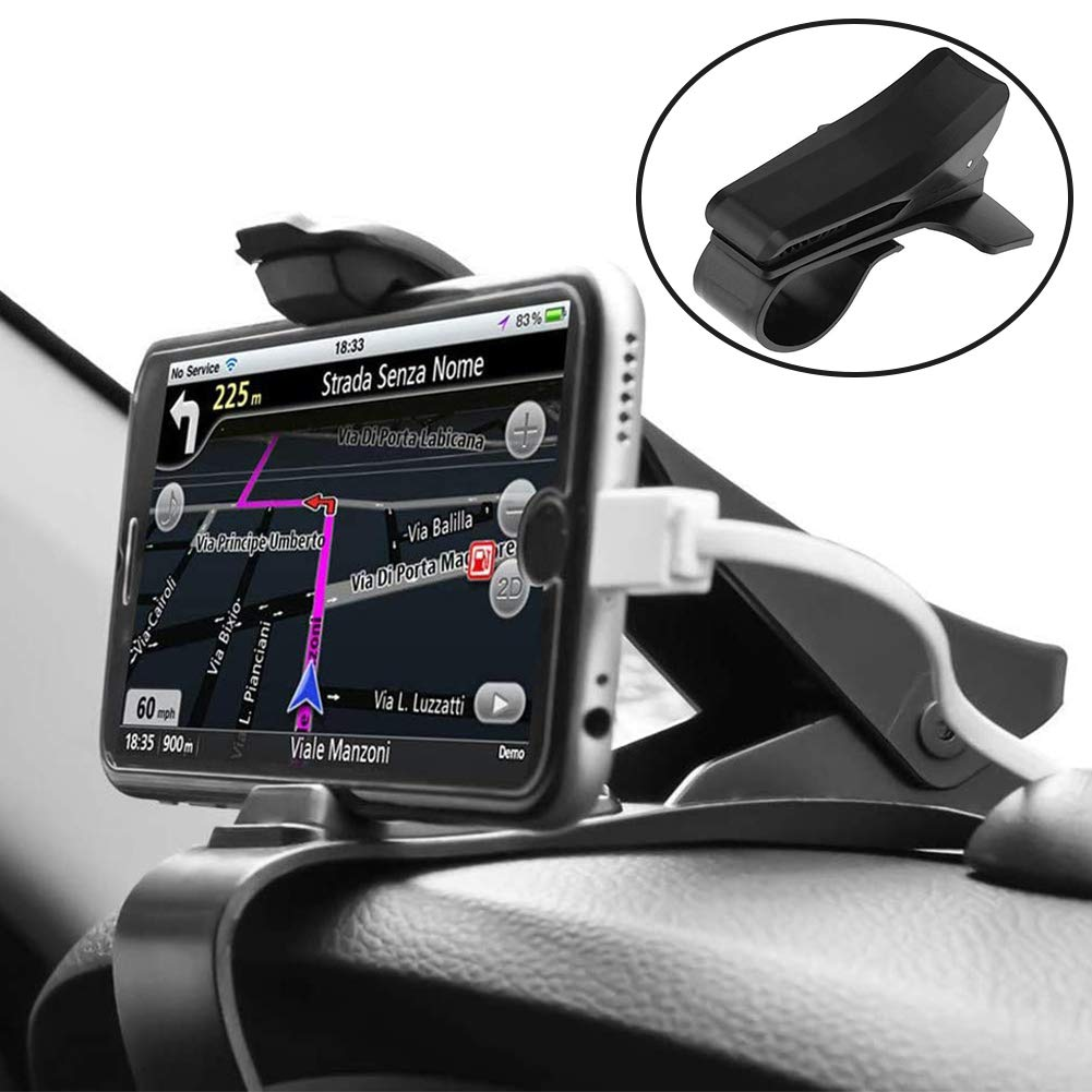 SDFY Car Phone Mount, Clip-Grip Cell Phone Car Mount Car Phone Holder 360 Rotation Adjustable and Anti-Slip Design, Suitable for All Smartphones, Cellphones, GPS and More
