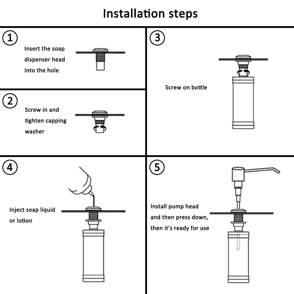 Kitchen Sink Soap Dispenser Undersink,Easy Installation,No Messy Countertop Yofidra B