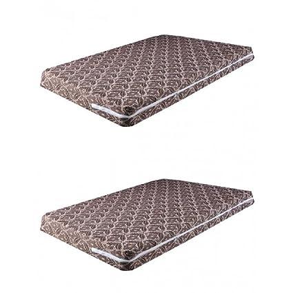 HOME DESIGN Cotton Mattress Cover, Chocolate, 36x75x5 - Pair of 2 Piece