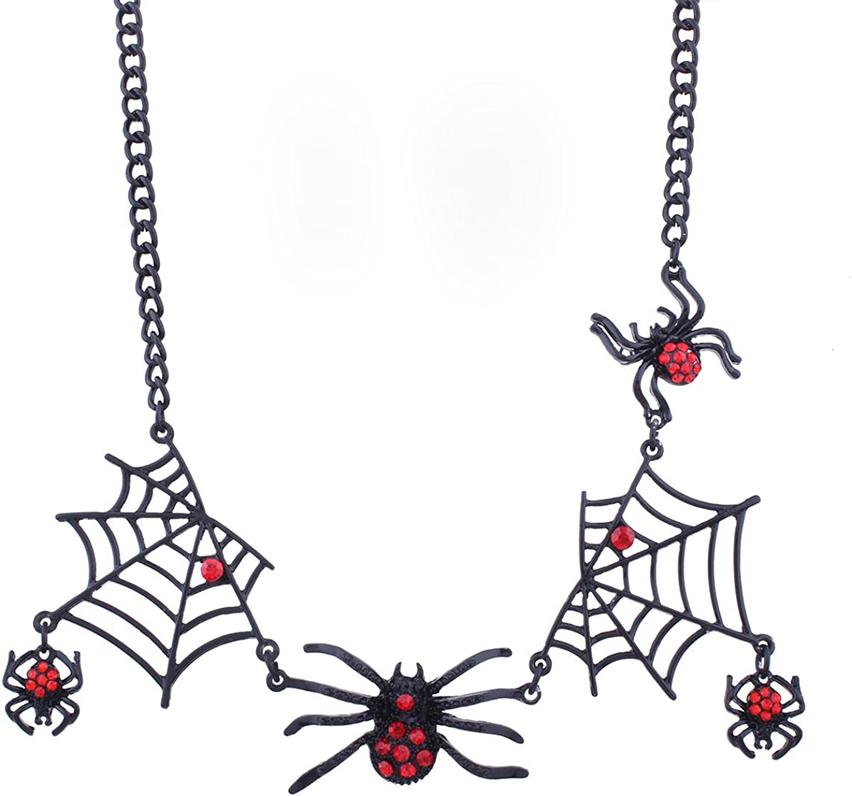 17Rainbow Halloween Jewelry Red Rhinestone Spiders Spider Web Steampunk Pendants Necklace Earrings Jewellery Set