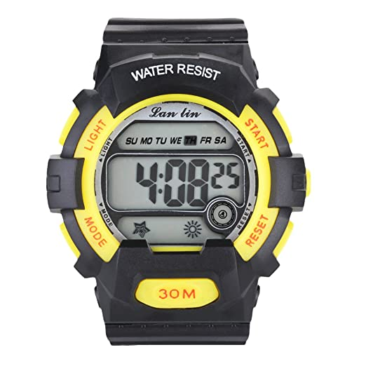YAZILIND Unisex Sports Watch Multifunction Led Light Digital Waterproof Wristwatch-Yellow