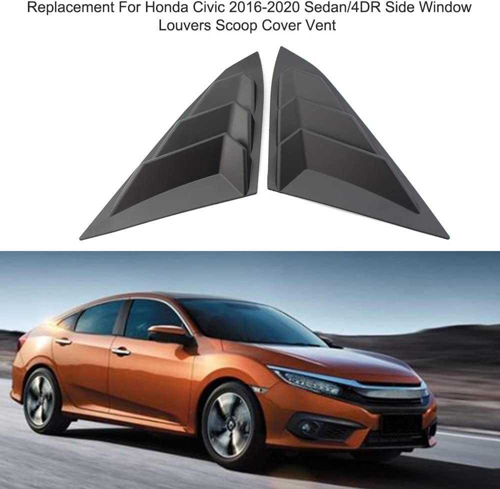 KKmoon Side Window Louvers Scoop Cover Vent Replacement for Honda Civic 2016-2020 Sedan//4DR