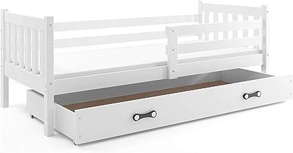 Cama individual CARINO, 190x90, SOMIER Y CAJÓN GRATIS! colchón de espuma DE REGALO!color: blanco