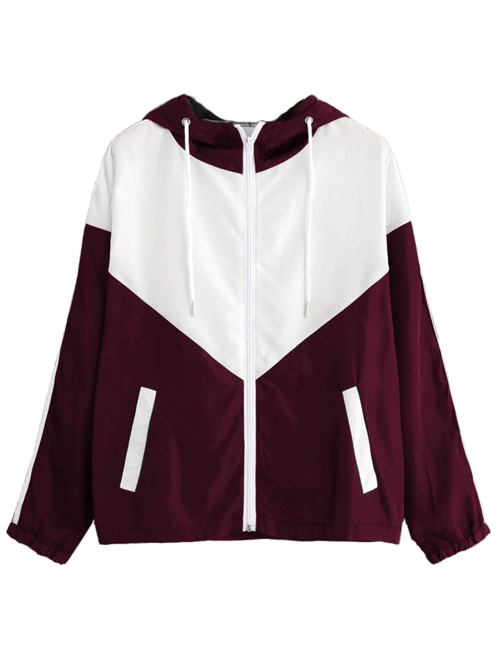Milumia Women's Color Block Drawstring Hooded Zip Up Sports Jacket Windproof Windbreaker Large White and Burgundy