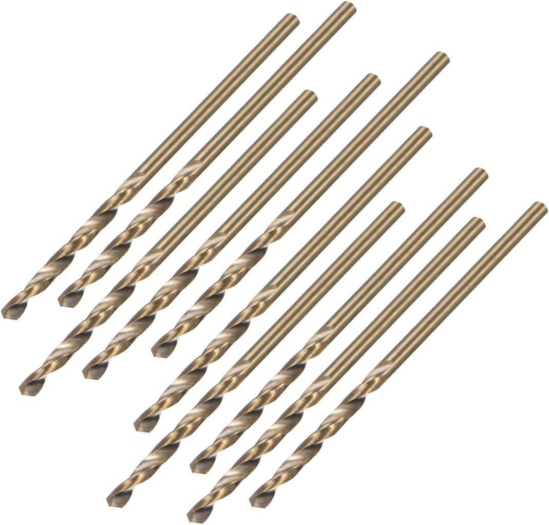 uxcell 1.6mm Twist Drill High Speed Steel Bit HSS M35 5% Co for Steel,Copper,Aluminum Alloy 10pcs