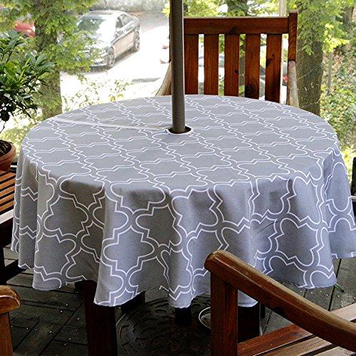 """ColorBird Elegant Moroccan Outdoor Tablecloth Waterproof Spillproof Polyester Fabric Table Cover with Zipper Umbrella Hole for Patio Garden Tabletop Decor (60"""" Round, Zippered, Grey)"""