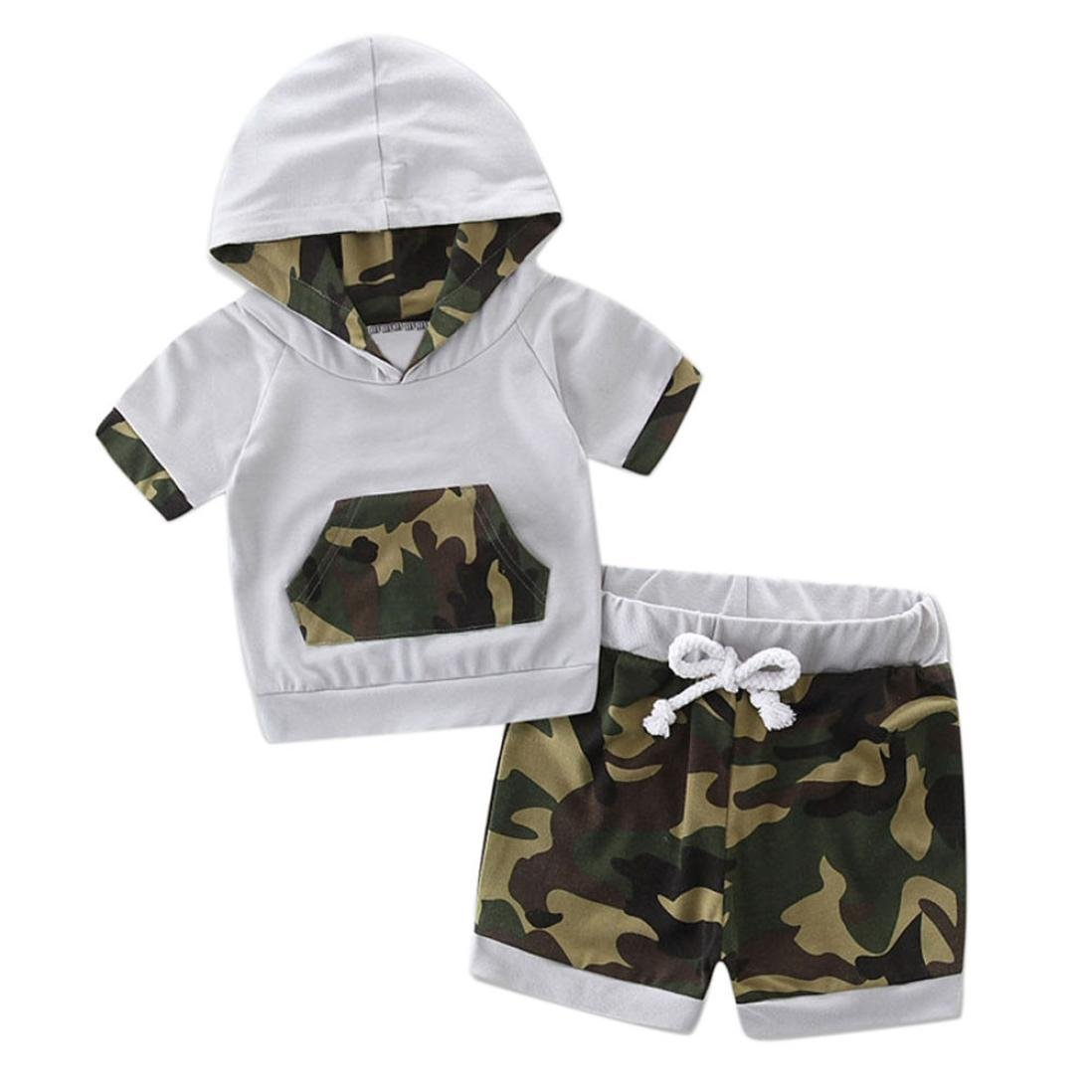 Baby Boys Summer Clothes, HEHEM Toddler Baby Hooded Camouflage Splice Tracksuit Tops +Shorts Pants Outfits Set (6-24 month) (3-6 month, Camouflage) Fashion Small fresh Feminine charm Animals