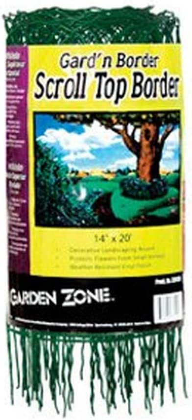 "Garden Zone 331420 Scroll Top Rolled Garden Border, 14"" x 20', Green"
