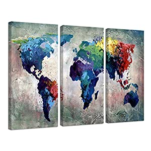 Ardemy Canvas Wall Art Watercolor Map of the World Abstract Colorful Vintage Painting Pictures, Large 3 Panels Artwork Framed Ready to Hang for Living Room Bedroom Meeting Room Home Office Decor