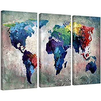 Amazon world map canvas map poster printed on canvas with ardemy canvas wall art watercolor map of the world abstract colorful vintage painting pictures large 3 panels artwork framed ready to hang for living room gumiabroncs Choice Image
