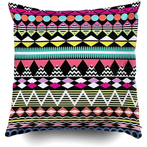 AUUOCC Throw Pillow Covers, Halloween Bright Colorful Party Aztec Pattern Round Cushions Case for Sofa Home Decorative Pillowslip Gift Ideas Household Pillowcase Zippered Pillow Covers 18X18 Inch ()