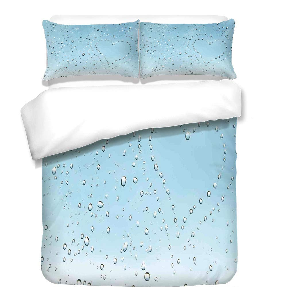 iPrint 3Pcs Duvet Cover Set,Farmhouse Decor,Heart Shape Rain Droplets on Crystal Clear Window Glass Pure Love Valentines,Blue,Best Bedding Gifts for Family/Friends