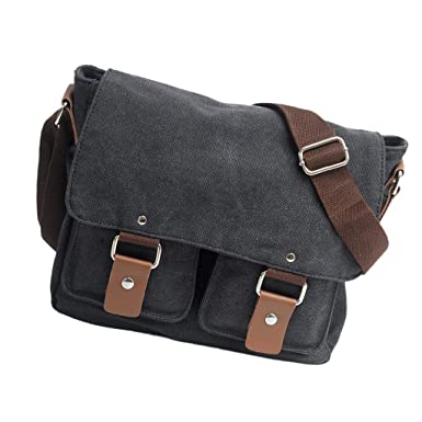 MagiDeal Mens Canvas Messenger Shoulder Bag Crossbody Bag Travel Hiking  Satchel - Black 5d7a6d20a181a