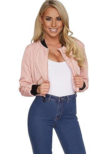 ZKOO Mujer Chaqueta Corta Jacket Bomber Manga Larga Cazadora Blusa con Zip Casual Top Outwear