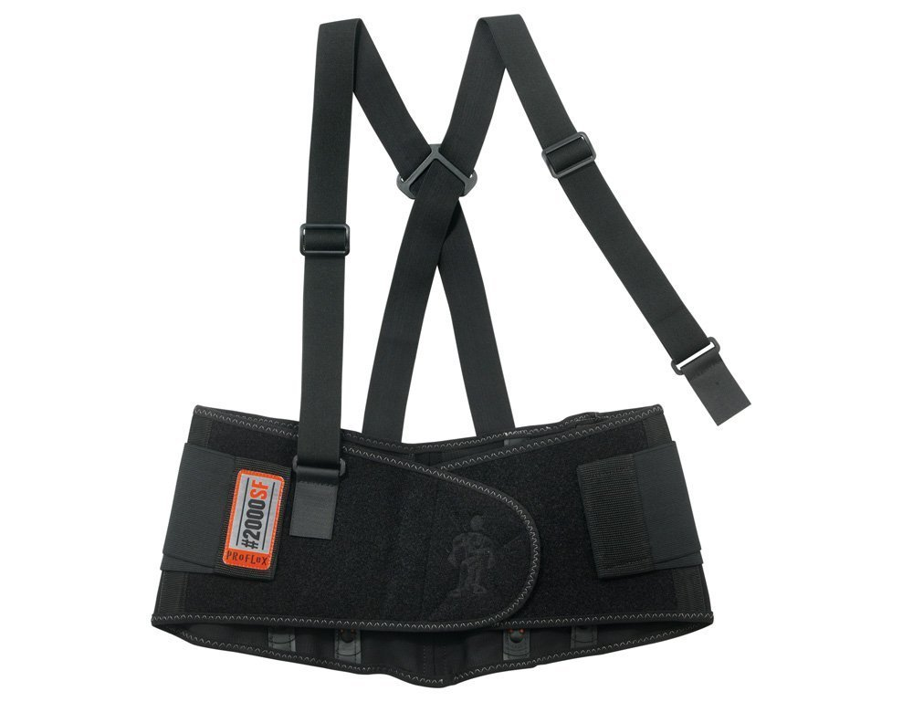 Ergodyne 11283 Medium Black Proflex 2000SF 840D Spandex High Performance V-Shaped Design Back Support with Two-Stage Closure, Sticky Fingers Stays and Detachable Suspenders, 15.34 fl. oz.