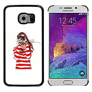 iKiki Tech / Estuche rígido - Camera White Photo Photographer - Samsung Galaxy S6 EDGE SM-G925