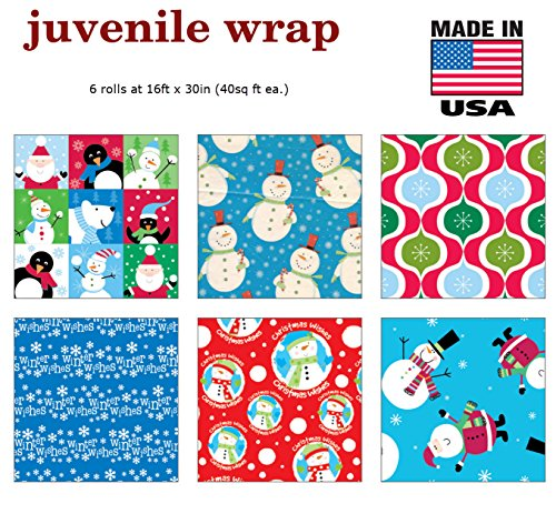 Premium Christmas Gift Wrap Juvenile Wrapping Paper Bulk for Men Women Boys Girls Kids 6 Different 16 ft X 30 in Rolls Included Xmas Santa Snowman Snowflake