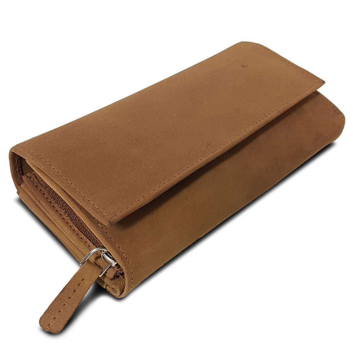 ROYALZ Leder Geldbörse für Damen Portemonnaie groß mit vielen Fächern RFID-Blocker Brieftasche Querformat, Farbe:Montana Braun