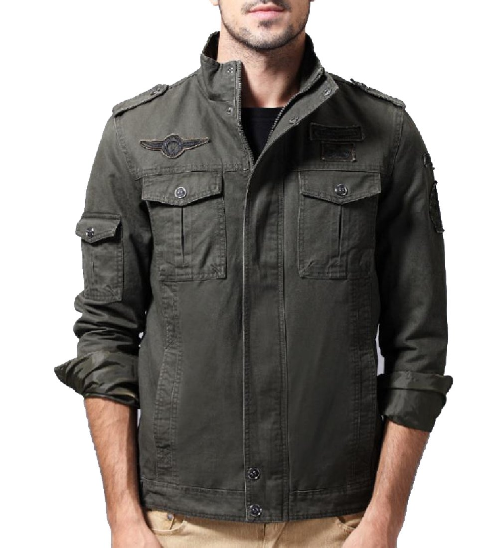 Vivi-Men Combat Large Size Fine Cotton Versatile Flight Jacket Army Green XL by Vivi-Men