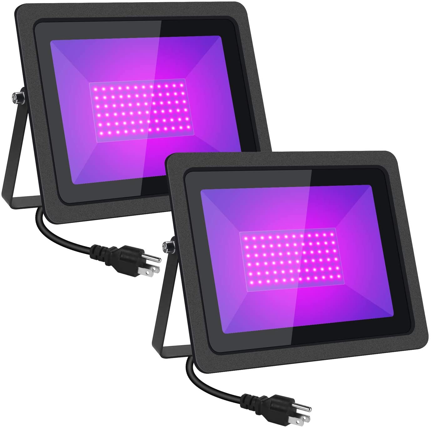 Black Lights HWay 100W LED Black Lights Flood Light with Plug(6ft Cable) for Blacklight Party, Stage Lighting, Aquarium, Body Paint, Fluorescent Poster, Neon Glow, Glow in The Dark (2Pack)