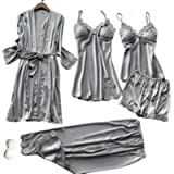 SAPJON Women's 5pcs Silk Satin Pajama Set Sexy Cami Top Nightgown Lace Sleepwear Robe Sets Nightdress with Chest Pads