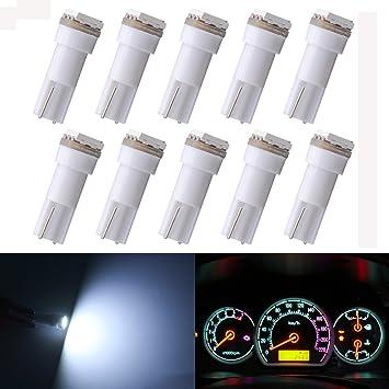 KaTur – bombillas LED T5 70 73 74 79 85 86 206 406 5050 1SMD blanco 1 W 12 V para interior de coche, bombillas LED de salpicadero (paquete de 10)