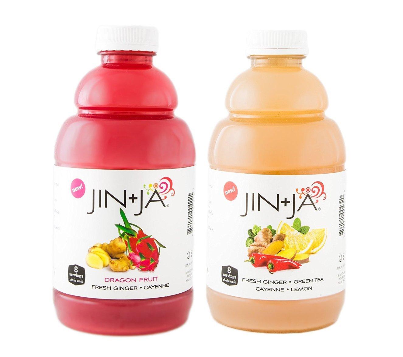 Jin-Ja Dragon Fruit and Original Flavor 6 Each, Fresh Ginger Green Tea Health Drink - 32 oz, Mixed 12 Pack