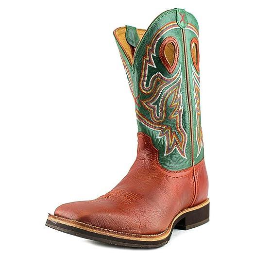b9133b2e6a7 Twisted X Western Boots Men Horseman Square Cognac Neon Green MHM0018