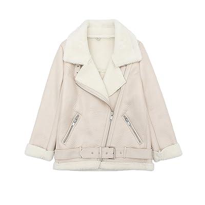 LY VAREY LIN Women's Faux Shearing Moto Jacket Thick Lined Parka Winter Shearling Coat Leather Jacket: Clothing