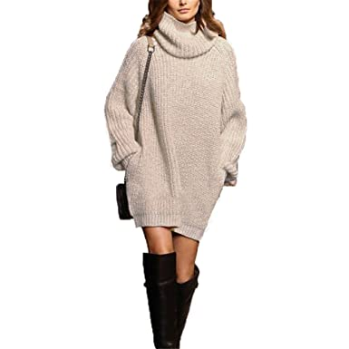 5c4bb9b2797b68 Women Oversized Dress Ladies Knitted Baggy Sweater Knit Jumper Tops:  Amazon.co.uk: Clothing