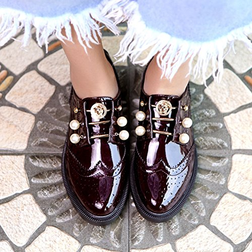 GIY Women Carving Oxfords Shoes Shiny Brogue Wing tip Modern Casual Shoes Wine Red Q6UBPsv