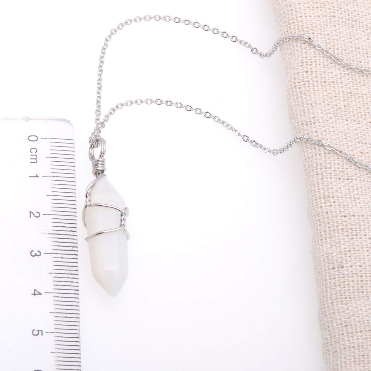 Hand Wired White Opal Imitation Gemstone Healing Point Chakra Pendant Necklace 18 Inches