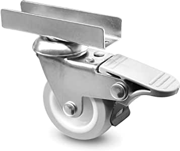 Burak Teker 0516 Fhg Döner Metal U Maşalı, Plastik Teker, Frenli, Gri/Beyaz