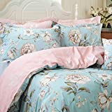 FADFAY Shabby Floral Duvet Cover Set Farmhouse Bedding Blue Cotton Summer Bedding With Hidden Zipper Closure 3 Pieces, 1duvet cover & 2pillowcases (Full Size, Simple Style)
