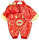 CRB Fashion Baby Newborn Boy Girls Chinese New Years Asian Shirt Outfit … (2 To 4 Months, Red Flowers)