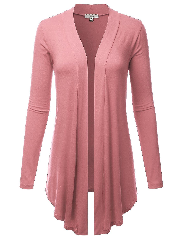 Lbt007dpink LALABEE Women's Draped OpenFront Long Sleeve Light Weight Cardigan (S3XL)