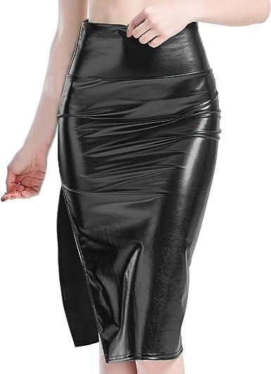 IBAKOM - Falda para Mujer Midirock Shiny Liquid Metallic de Piel ...