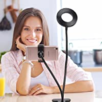 Selfie Ring Light with Cell Phone Holder Stand for Live Stream/ Makeup, LED Phone Lighting [3-Light Mode] [10-Level…