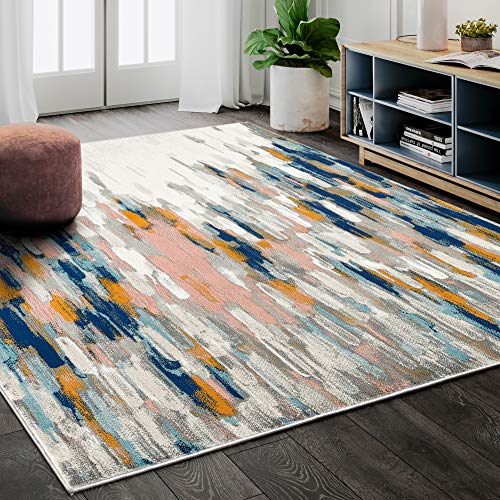 Abani Rugs Orange & Blue Contemporary Abstract Area Rug Contemporary Style, Porto Collection | Turkish Made Superior Comfort & Construction | Stain Shedding Resistant, 7'9″ x 10'2″ Rectangle
