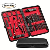 MIRANCO Manicure Set,18 In 1 Stainless Steel Professional Pedicure Kit Nail Scissors Grooming Kit with Black Leather Travel Case