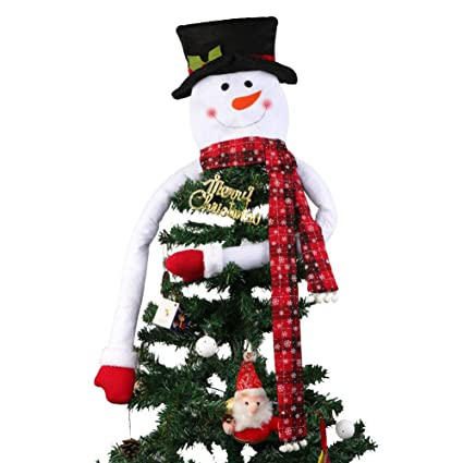 aytai large snowman head christmas tree topper with snowflake plaid scarf xmas treetop ornaments for