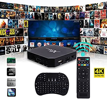 Cewaal (EU Plug)X96 Mini Android 7.1 Amlogic S905W 2 GB + 16 GB Quad Core WiFi HD 4Kx2K Smart TV Box Media Player con I8 teclado perfecto para el entretenimiento en el