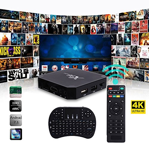 Cewaal X96 Mini Android 7.1 Amlogic S905W 2GB+16GB Quad Core WiFi HD 4Kx2K Smart TV Box Media Player with I8 Keyboard Perfect For Home Entertainment by Cewaal