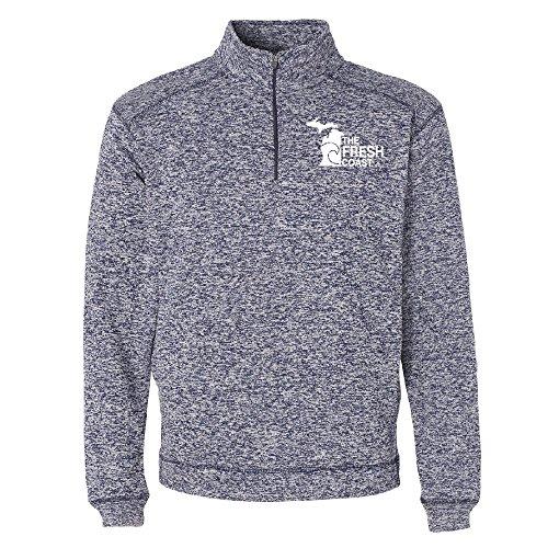 (LivnFresh Michigan Fresh Coast Unisex Performance 1/4 Zip Sweatshirt Navy Fleck Large)
