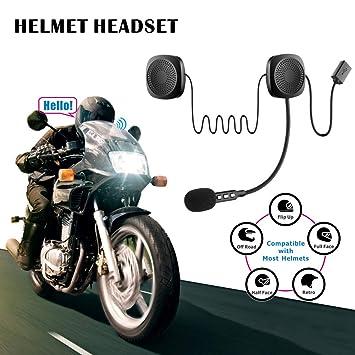 WANZIJING Bluetooth 4,2 Auriculares inalámbricos Moto Casco Bluetooth intercomunicador Auricular con micrófono y 13 Horas Tiempo de Juego para Jinetes ...