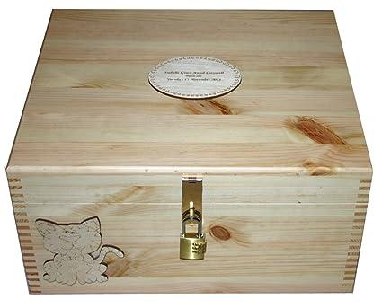 Personalizado Recuerdo de madera natural con cerradura o memoria caja stoage – decorada con un gato