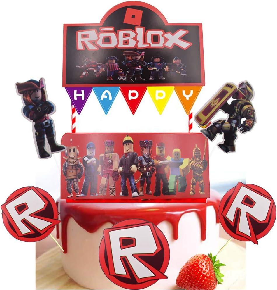 D/écorations de cupcakes sur le th/ème du jeu pour f/ête Roblox pour cupcakes